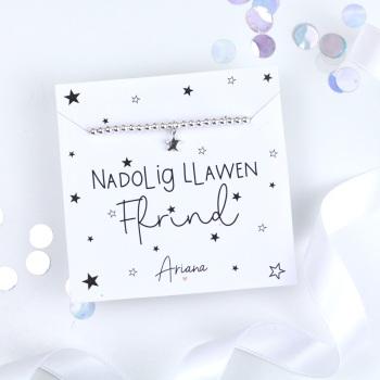 Nadolig Llawen Ffrind - Silver Stretch Bracelet - Various Choice