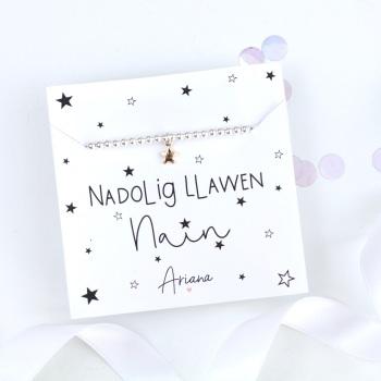 Nadolig Llawen Nain - Silver Stretch Bracelet - Various Choice