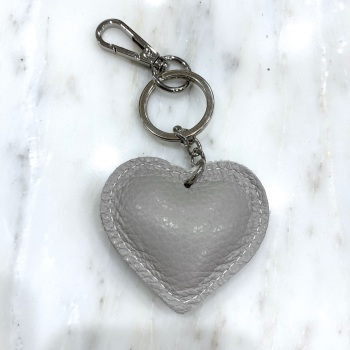 Heart - Leather Keyring/Bag Charm - Light Grey