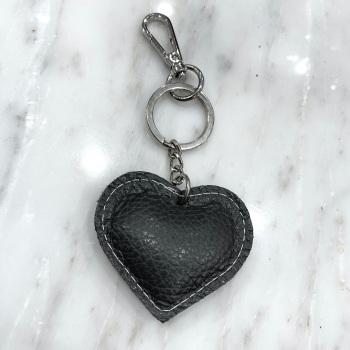 Heart - Leather Keyring/Bag Charm - Grey