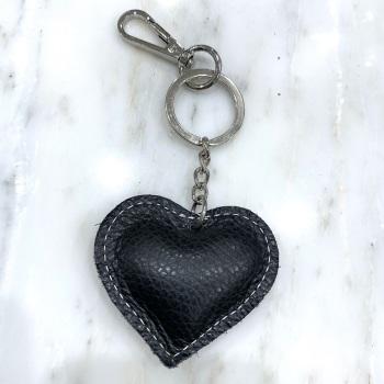 Heart - Leather Keyring/Bag Charm - Black