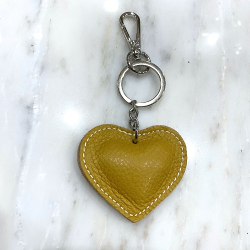 mustard leather heart keyring, Leather heart keyring, heart keyring leather