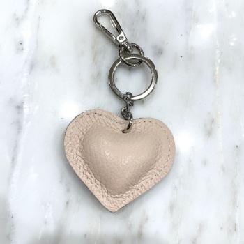 Heart - Leather Keyring/Bag Charm - Nude