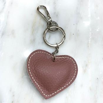 Heart - Leather Keyring/Bag Charm - Pink