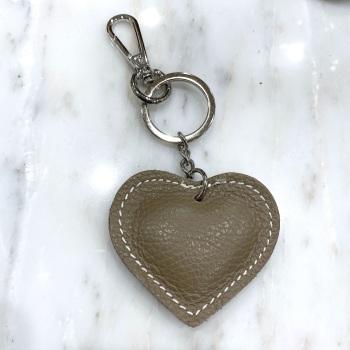 Heart - Leather Keyring/Bag Charm - Beige