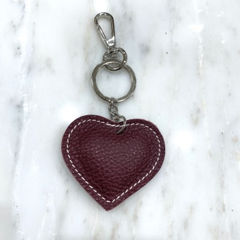 Heart - Leather Keyring/Bag Charm - Mulberry