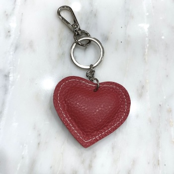 Heart - Leather Keyring/Bag Charm - Red