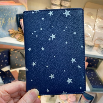 Starry Leather - Travel Wallet - Navy & Silver