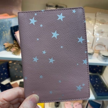 Starry Leather - Travel Wallet - Pink & Silver
