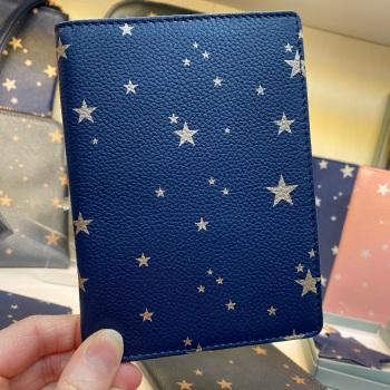 Starry Leather - Travel Wallet - Navy & Rose Gold