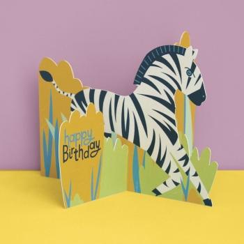 Zebra Happy Birthday - 3D Card