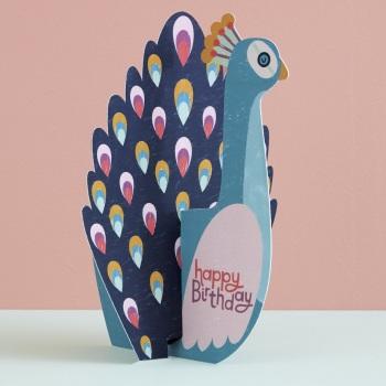 Peacock Happy Birthday - 3D Card