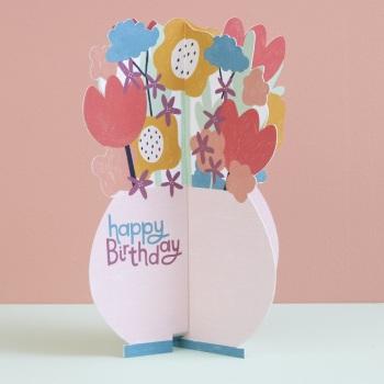 Flower Vase Happy Birthday - 3D Card