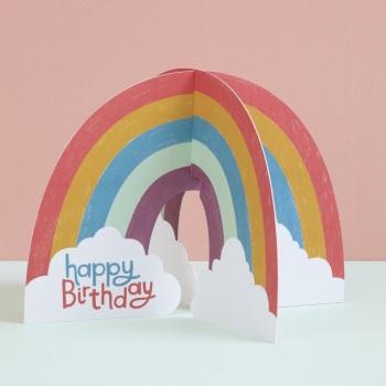 Rainbow Happy Birthday - 3D Card