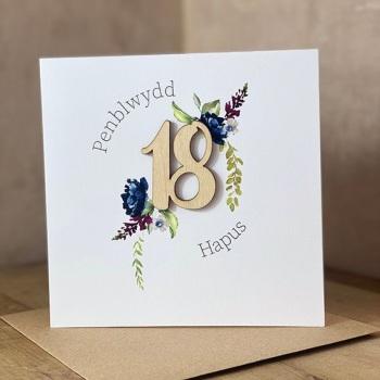 Penblwydd Hapus - 18 - Wooden Card
