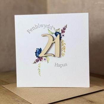 Penblwydd Hapus - 21 - Wooden Card