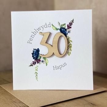 Penblwydd Hapus - 30 - Wooden Card