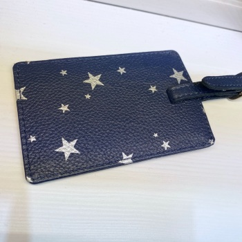 Starry leather - Luggage Tag - Navy & Silver