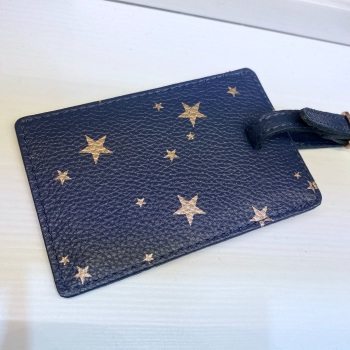 Starry leather - Luggage Tag - Navy & Rose Gold
