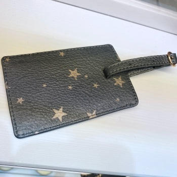 Starry leather - Luggage Tag - Grey & Rose Gold