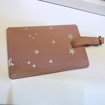 Starry leather - Luggage Tag - Pink & Silver
