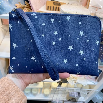 Starry leather - Clutch Bag - Navy & Silver
