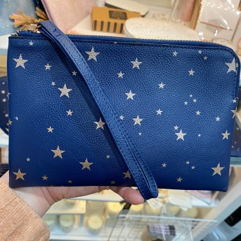 Starry leather - Clutch Bag - Navy & Rose Gold