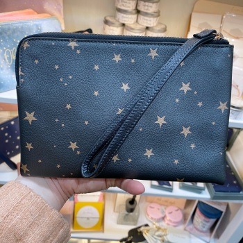 Starry leather - Clutch Bag - Grey & Rose Gold