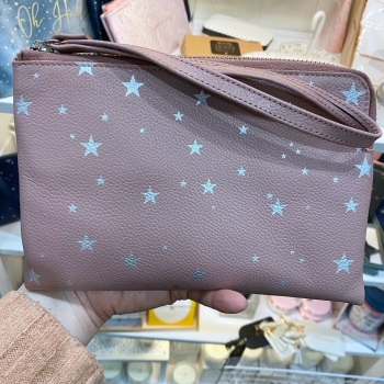 Starry leather - Clutch Bag - Pink & Silver