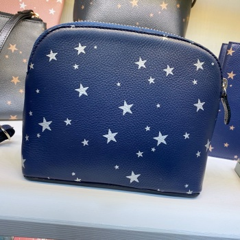Starry Leather - Makeup Bag - Navy & Silver