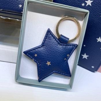 Starry Leather - Star - Keyring - Navy & Rose Gold