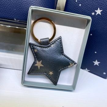Starry Leather - Star - Keyring - Grey & Rose Gold