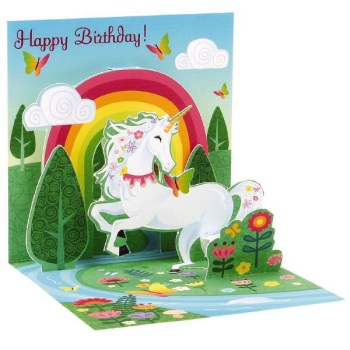 Unicorn Rainbow Happy Birthday - Pop Up Card - Trinket