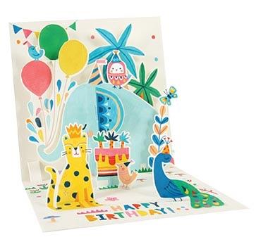 Jungle Animals Happy Birthday - Pop Up Card