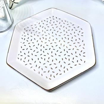 White & Gold Hexagon - Dish/Trinket