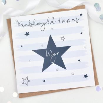 Starry Stripes - Penblwydd Hapus Wyr - Card