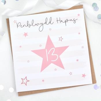 Pink Starry Stripes - Penblwydd Hapus 13 - Card