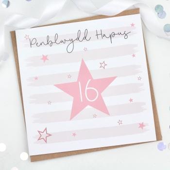 Pink Starry Stripes - Penblwydd Hapus 16 - Card
