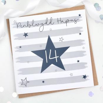 Blue Starry Stripes - Penblwydd Hapus 14 - Card
