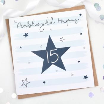 Blue Starry Stripes - Penblwydd Hapus 15 - Card