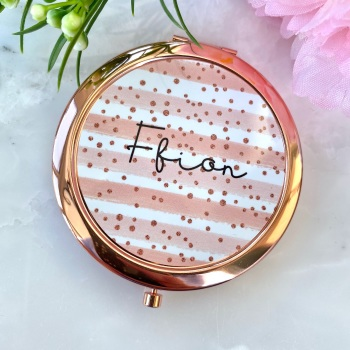 Personalised - Rose Gold Spot - Compact Mirror - Rose Gold