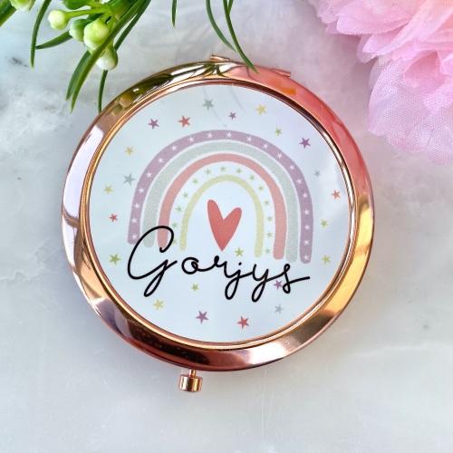 Rainbow compact mirror, Drych gorjys, gorjys mirror, anrhegion cymraeg, Ros