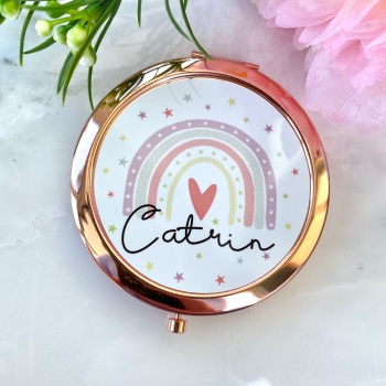 Personalised - Rainbow - Compact Mirror - Rose Gold