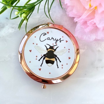 Personalised - Bee - Compact Mirror - Rose Gold