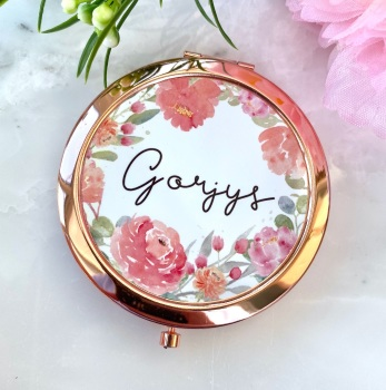 Gorjys - Floral - Compact Mirror - Rose Gold