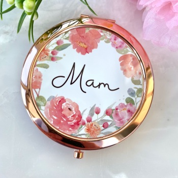 Mam - Floral - Compact Mirror - Rose Gold