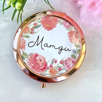 Mamgu - Floral - Compact Mirror - Rose Gold