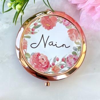 Nain - Floral - Compact Mirror - Rose Gold