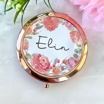 Personalised - Floral - Compact Mirror - Rose Gold
