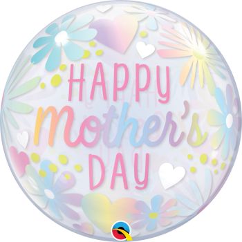 Happy Mother's Day Bubble Balloon - Pastel Flowers
